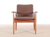 Mid-Century Modern scandinavian set of 6 diplomat armchairs in teak by Finn Julh