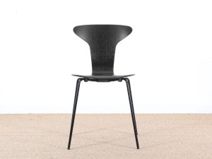 Set of 4 Munkegaard chairs in black stained oak by Arne Jacobsen, new releases.