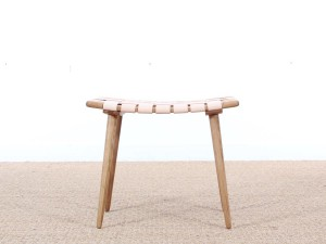 Mid-Century Modern  stool or ottoman in oak and leather