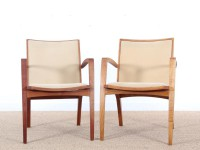 Mid-Century  modern  pair of arm chairs in teak and alcantara by Jacob Berg