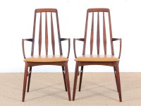 Mid-Century Modern Danish pair of armchairs in Rio rosewood model Eva by Niels Kofoed
