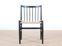 Mid-Century Modern danish set of 4 chairs in black laquered beech, model 80 by Jørgen Bækmark. New realese