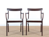 Mid-Century Modern Danish pair of armchairs in mahogany model Rungstelund by Ole Wanscher.