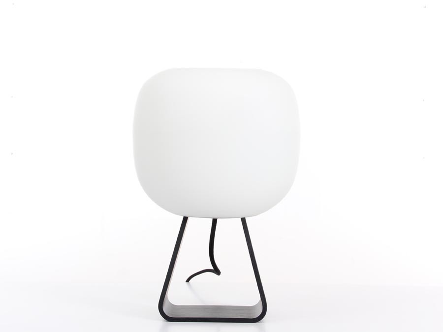 Oak And Glass Table Lamps: Table Lamp In Black Laquered Oak And Opal Glass Model Toad