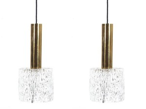 Mid century modern pair of pendant lamps in glass and brass by Carl Fagerlund