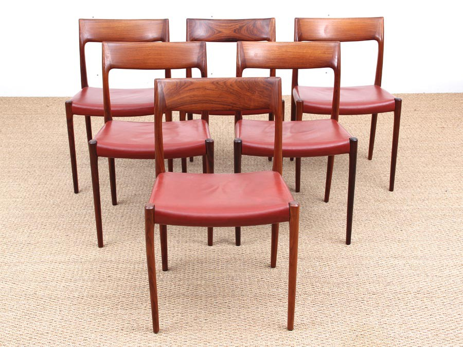 Mid Century Modern Set Of Six Rio Rosewood Dining Chairs By