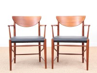 Mid-Century Modern Danish pair of armchairs in teck model 317 by Hvidt & Mølgaard Nielsen