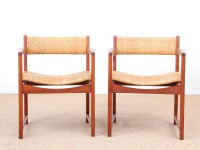Danish mid-century modern pair of arm chairs model 350 by Peter & Orla Hvidt & Mølgaard-Nielsen for Søborg Møbelfabrik