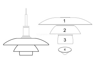 Spare parts for Louis Poulsen pendant lamp PH 4 1⁄2-4