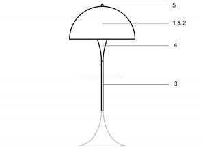 Spare parts for Louis Poulsen floor lamp Panthella