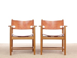 Mid-Century modern scandinavian pair of armchairs by Borge Mogensen model 3238