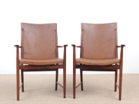 Mid century modern pair of armchair in Rio rosewood and cognac leather by Kai Lyngfeldt Larsen