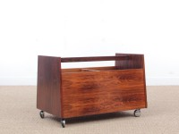Mid-Century  modern scandinavian vinyl record rack on wheels in Rio rosewood