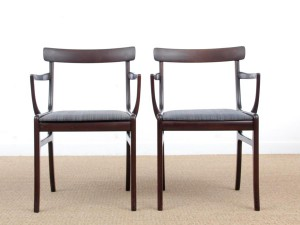 Mid-Century  modern scandinavian pait of 2 armchairs model Rungstedlund in mahogany by Ole Wanscher