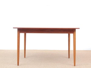 Mid-Century  modern scandinavian dining table in teak and oak, 4/8 seats, by Yngve Ekström