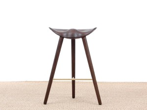Mid-Century  modern scandinavian bar stool model ML42 oak, 69 /77 cm, by Mogens Lassen, new edition.
