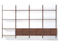Mid modern scandinavian shelving system in walnut, model Royal System by Poul Cadovius, new edition.