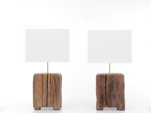 pair of lamps in sculpted oak. Unique pieces.