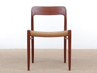 Mid-Century modern scandinavian set of 6 dining chairs in teak model 75 by Niels O.Møller
