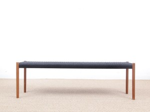 Mid-Century  modern scandinavian bench model n°63 by Niels Møller, teak and black paper cord 150 cm