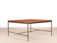 Mid-Century modern  square coffee table in teak and brass by Paul Mc Cobb