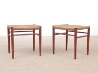 Mid-Century Modern Danish pair of stools in teck model 316 by Peter Hvidt & Orla Mølgaard Nielsen