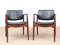 Mid-Century Modern Danish pair of desk chair in Rio rosewood model 66 by Erik Buck