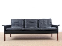Mid modern danish 3 seats black leather sofa, model 500 by Hans Olsen