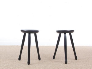 Mid-Century  modern scandinavian pair of three legs stools