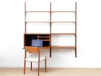Mid century modern scandinavian wall system Cado in teak by Poul Cadovious