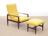 Fauteuil scandinave inclinable avec son repose pied