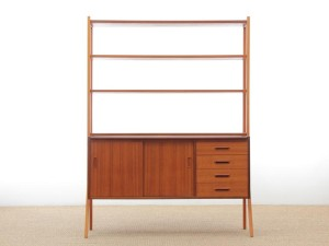 Mid-Century  modern scandinavian chest of drawers and shelves in teak