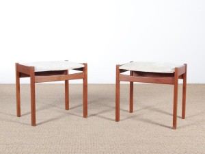 Mid century modern scandinavian pair of stool in teak.