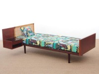 Mid century modern single bed by Hans Wegner, with bed table.