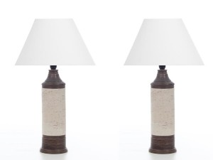 Mid century modern scandinavian ceramic pair of table lamps