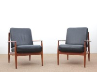 Mid-Century  modern scandinavian pair of armchairs by Grete Jalk