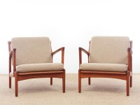 Mid-Century Modern Danish pair of  lounge chairs in teak model Kuba by Bertil Fridhagen