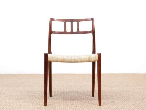 Mid-Century  modern scandinavian set of 6 chairs by Niel Møller in Rio rosewood