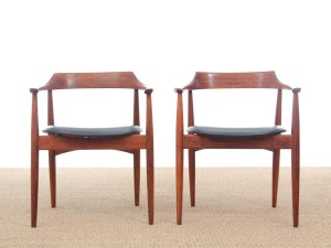 Mid-Century  modern scandinavian pair of armchairs model ST-750 by Arne Wahl Iversen