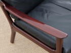 Mid-Century Modern Danish pair of  lounge chairs in mahogany model PJ 112 by Ole Wanscher