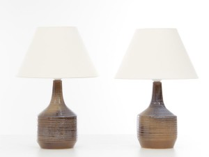 Pair of ceramic table lamps. Glazed stoneware. Unique pieces.