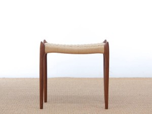 Mid-century modern stool model 78A walnut by Niels Møller. New édition