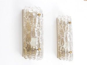 Mid century modern pair of cristal wall lamp  design by Carl Fagerlund.