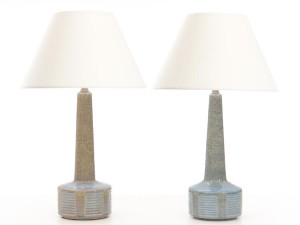 Mid-Century  modern scandinavian ceramic Palhus pair of lamps. Model DL26