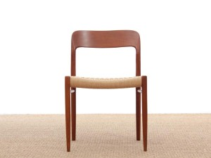 Mid-Century  modern scandinavian set of 4 teak dining chairs model 75