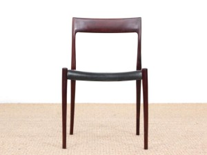 Mid century modern set of six Rio rosewood dining chairs by Niels Moller N°77