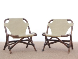 Pair of lounge chair in rattan and simili leather