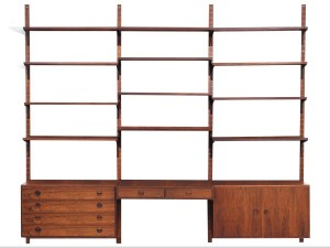 Mid century modern danish wall system in Rio rosewood