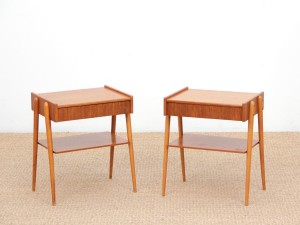 Mid-Century  modern scandinavian pair of night tables