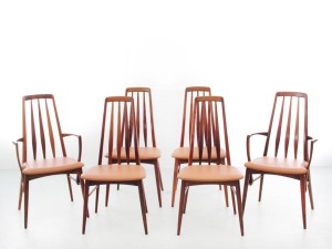 Mid-Century  modern scandinavian Danish set of 4 chairs and 2 armchairs in Rio rosewood model Eva by Niels Kofoed